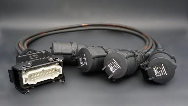 HAN16-M-Spider -> 4x-1,5-CEE-F-16A/400V/4p/BK - 1,0m